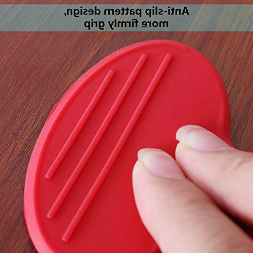Silicone Pot Silicone Heat Pot Holders, Oven Mini Cooking Pinch Kitchen- Set of Red
