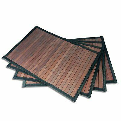 Stylish Wide Slat Bamboo Placemat - Dark Brown - Black Borde