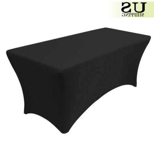 Tablecloth Table Cover Spandex 6 Ft Rectangular for Black Ba