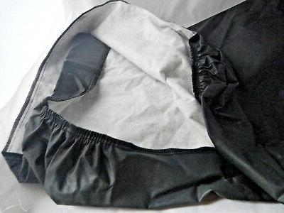 """Vinyl Fitted Table Topper Cover Black 18"""" Tablecloth Cotton Lined"""