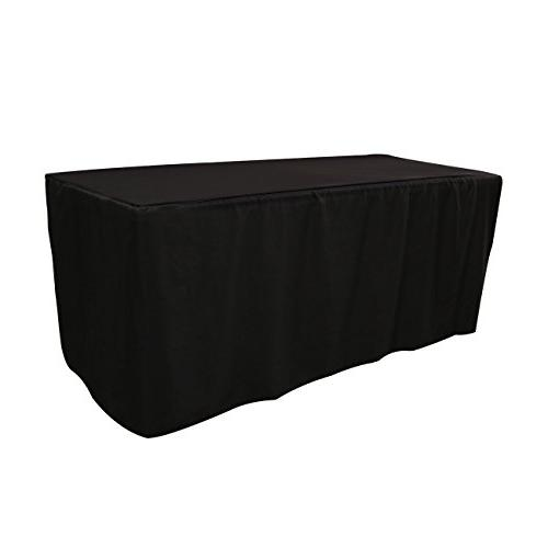 Your Chair Covers 6 ft Polyester Fitted Tablecloth - Black