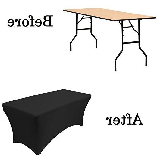 "Your Chair Covers Stretch Table Cover for 6 Tables, Length 30"" Width x Height Fitted Tablecloth for Standard Tables Black"