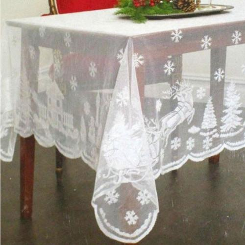 Lace Tablecloth Snowflake Pattern Table Decor Color
