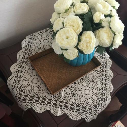 Beige Handmade Crochet Tablecloth Table