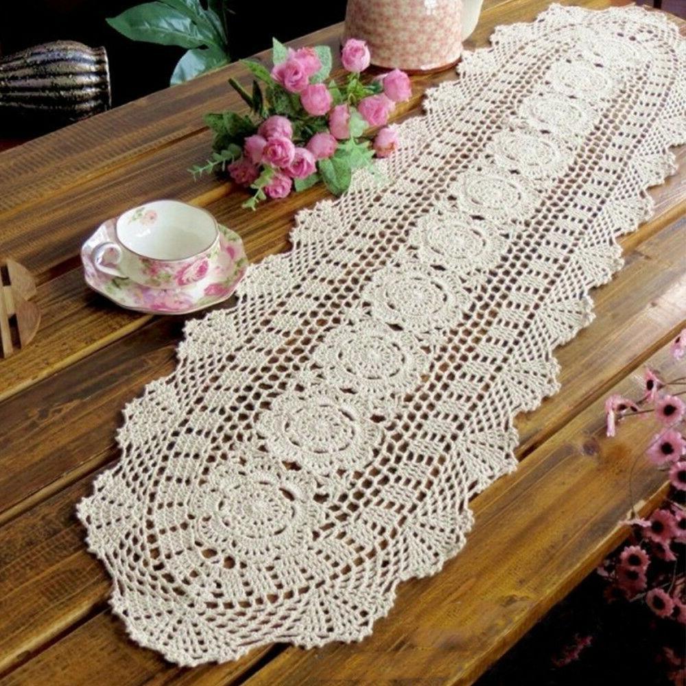 beige handmade crochet table runner cotton lace