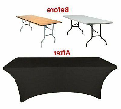 Banquet Tables Pro Black 6 ft. Spandex Tablecloth