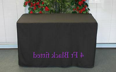 black fitted 4 feet tablecloth polyester table
