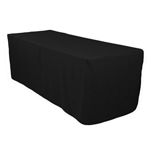 black fitted polyester table cover