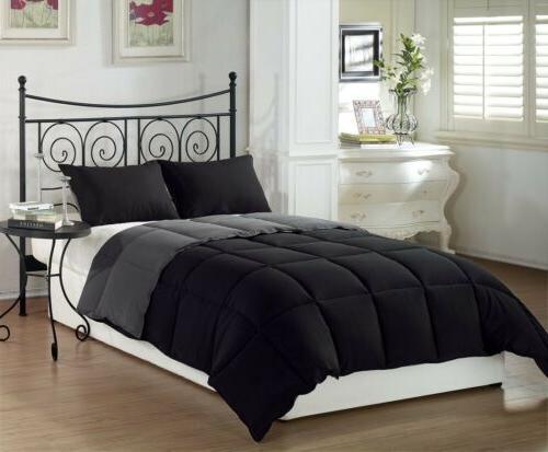 Black Grey Soft Goose Down Alternative Comforter Set , Twin