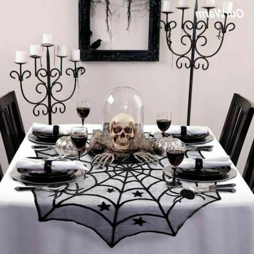 Black Lace Spider Table Runner Cloth Decor