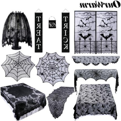 black lace spider web table runner fireplace
