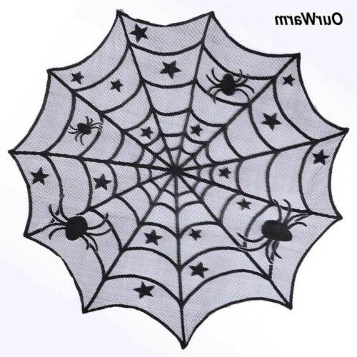 Black Lace Table Topper Cover 100cm Halloween Party Decor