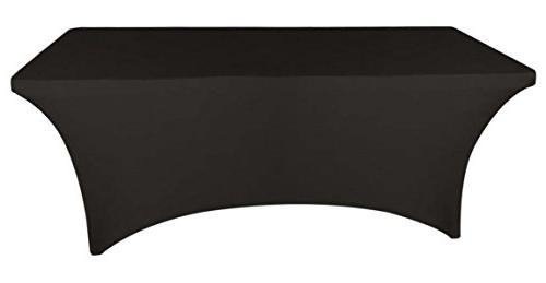 black rectangular stretch spandex tablecloth