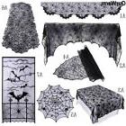 black spiderweb fireplace mantle scarf cover tablecloth