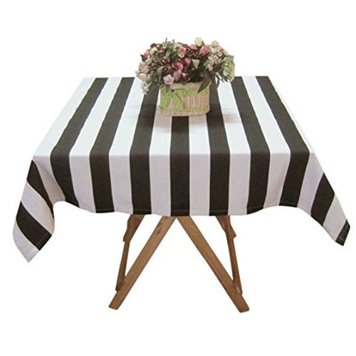 black white striped tablcloth cotton