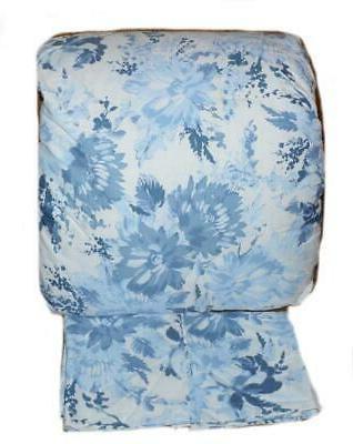 blue large blossom floral 3p king comforter