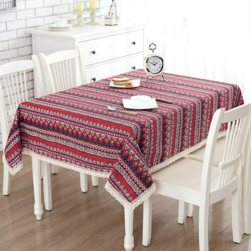 bohemian dining tablecloth soft cotton stripe table