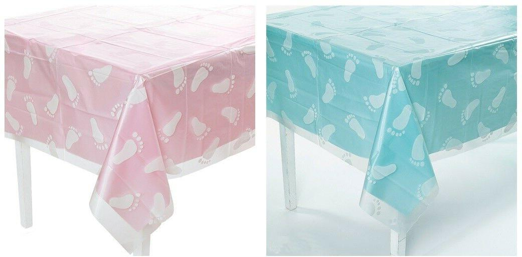 Boy or Girl CLEAR Footprint Tablecloth Baby Shower Party Dec