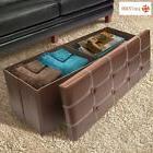 Large Brown Leather Entryway Bench Organizer Seat Storage Ot