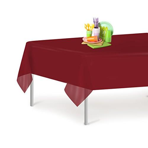 burgundy disposable plastic tablecloth rectangle