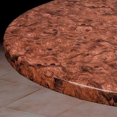 burlwood round elasticized tablecloth table cover vinyl