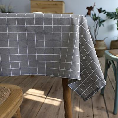 check plaid tablecloth waterproof cotton linen table