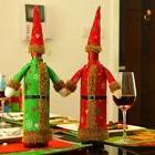 Christmas Bottle Cover Snowflake Wine Long Skirt Hat Xmas Ho