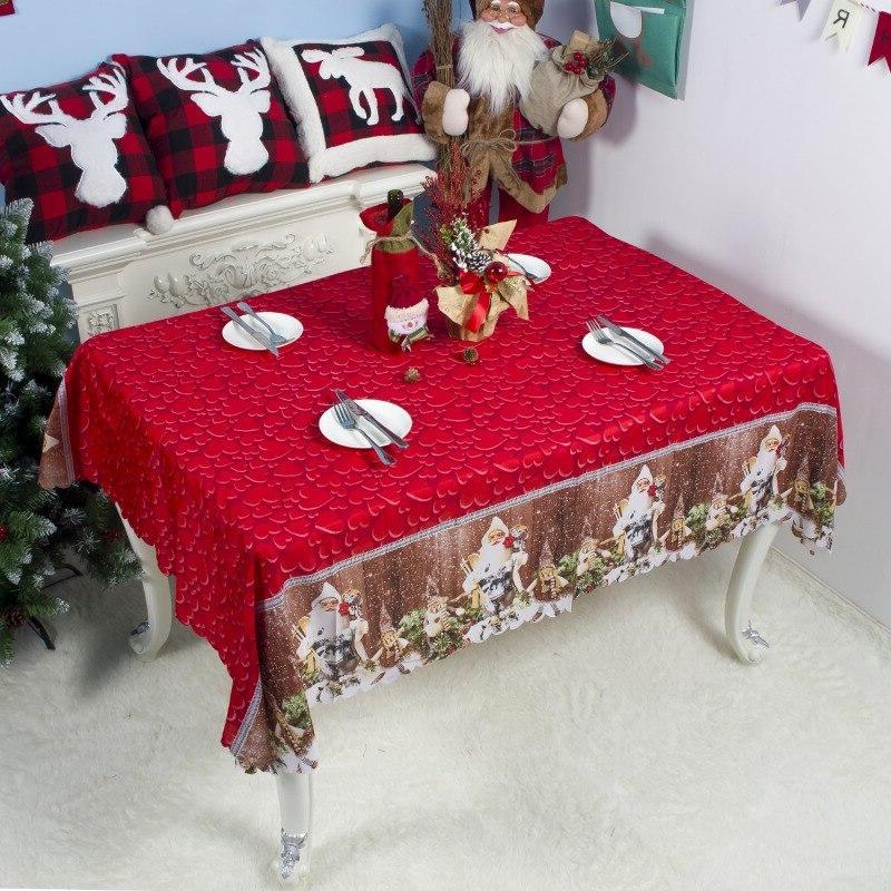 Christmas Tablecloth <font><b>Rectangle</b></font> Decorative <font><b>Table</b></font> Dinning Hall Decoration Santa <font><b>Table</b></font>