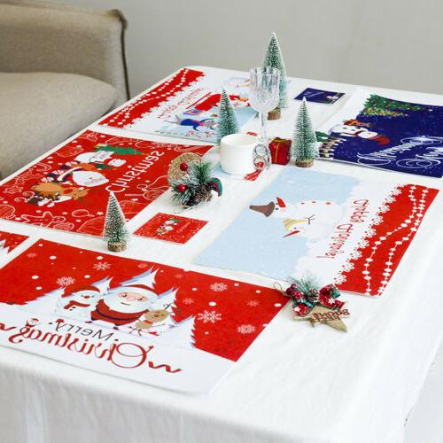 Christmas Table Mats Placemats Napkins Cloth Decor Cover for