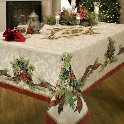Christmas Tablecloth Ribbons Engineered Printed Fabric Benso