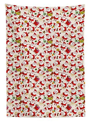 Ambesonne Tablecloth, Design Claus Print, W Inches,