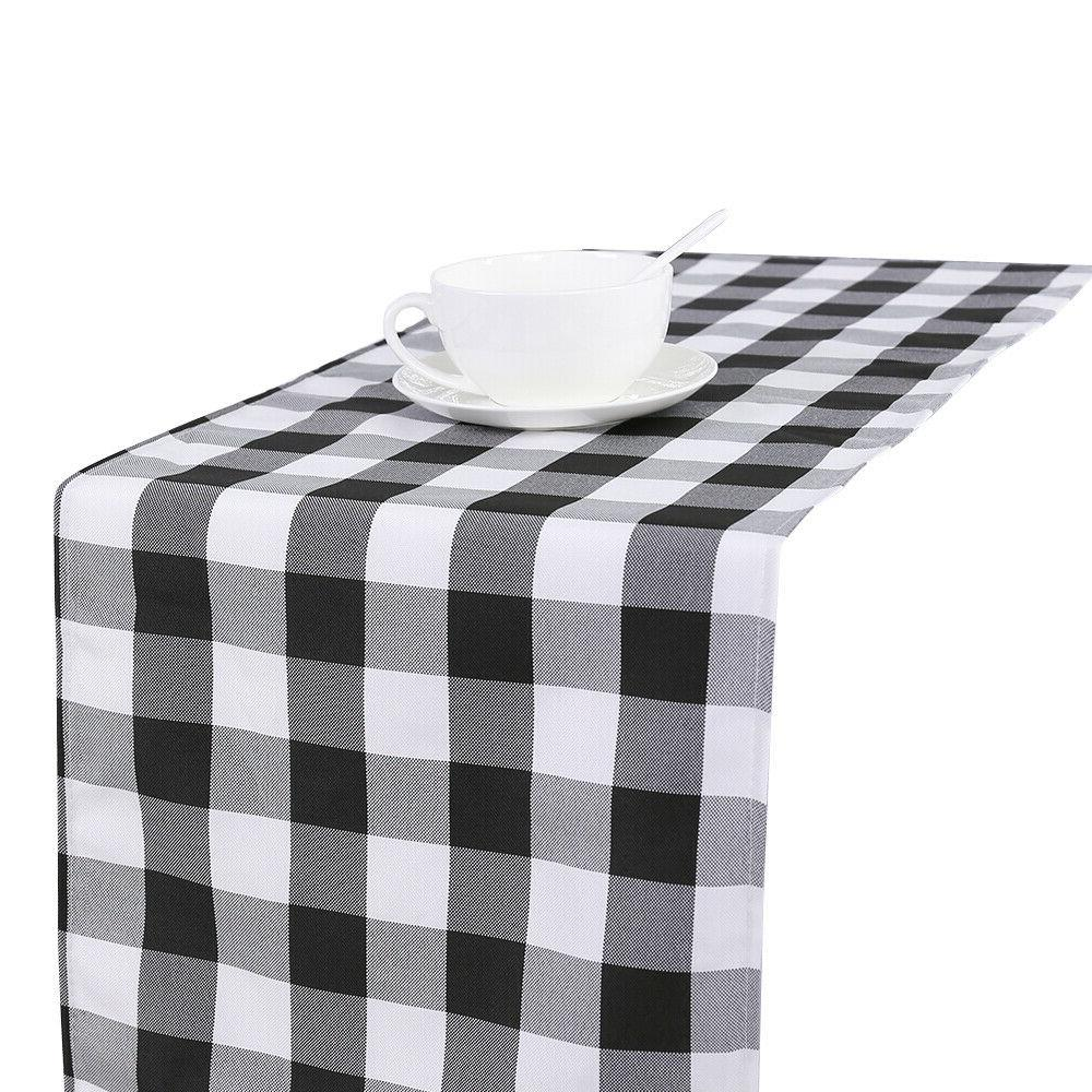 Classic Checked Runner Plaid Cover Wedding