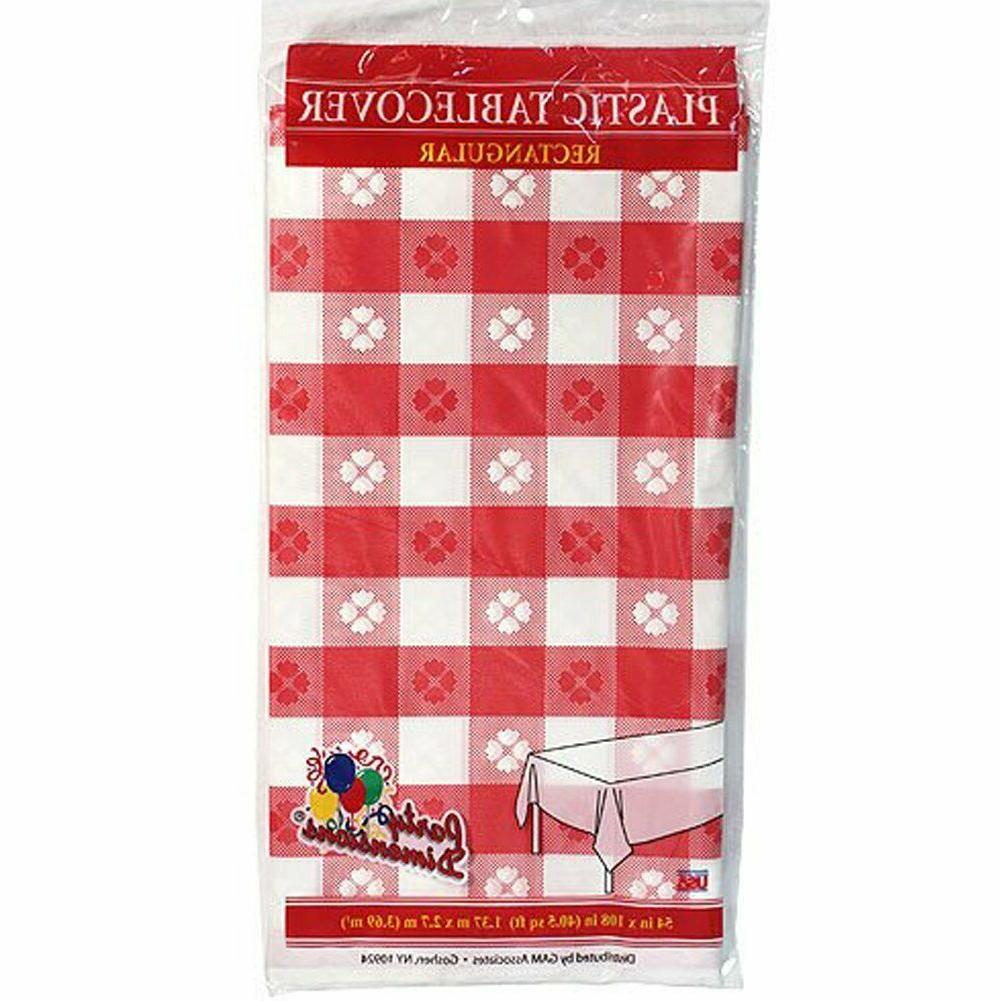 Classic Rectangle Picnic Party Tablecovers Plastic Red White