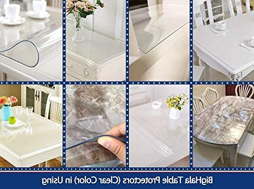 Square Clear Plastic Tablecloth Table Protective Desk Cover Roll Easy Vinyl Dining Tabletop Liner Pad 46X46