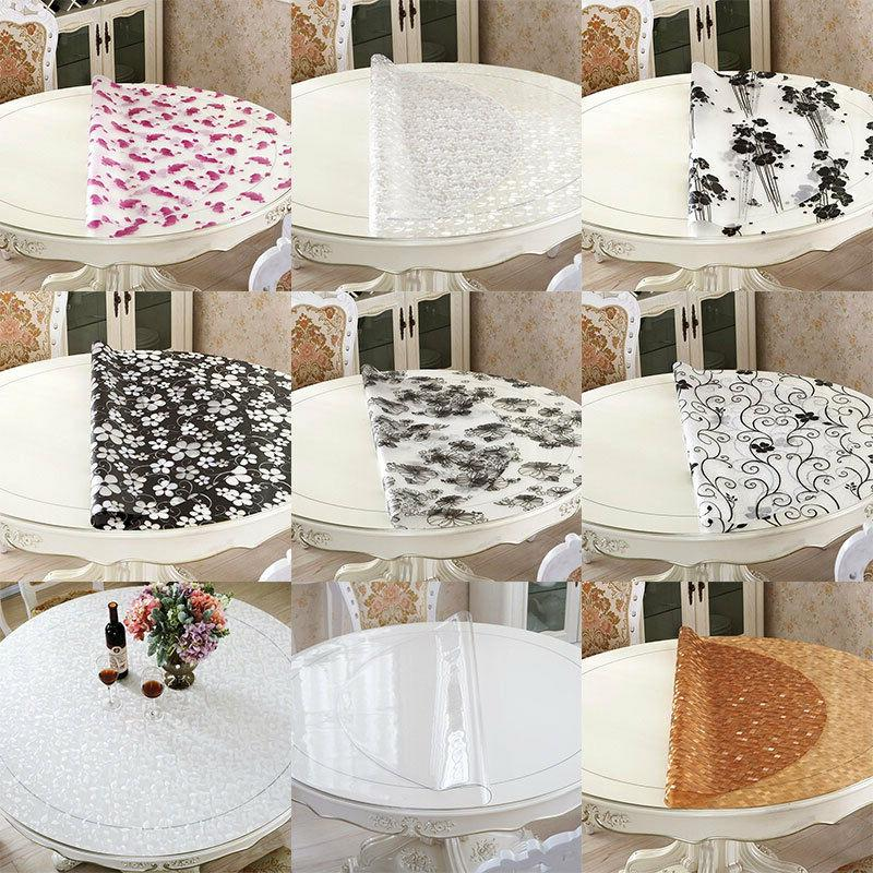 clear soft glass round pvc table cover