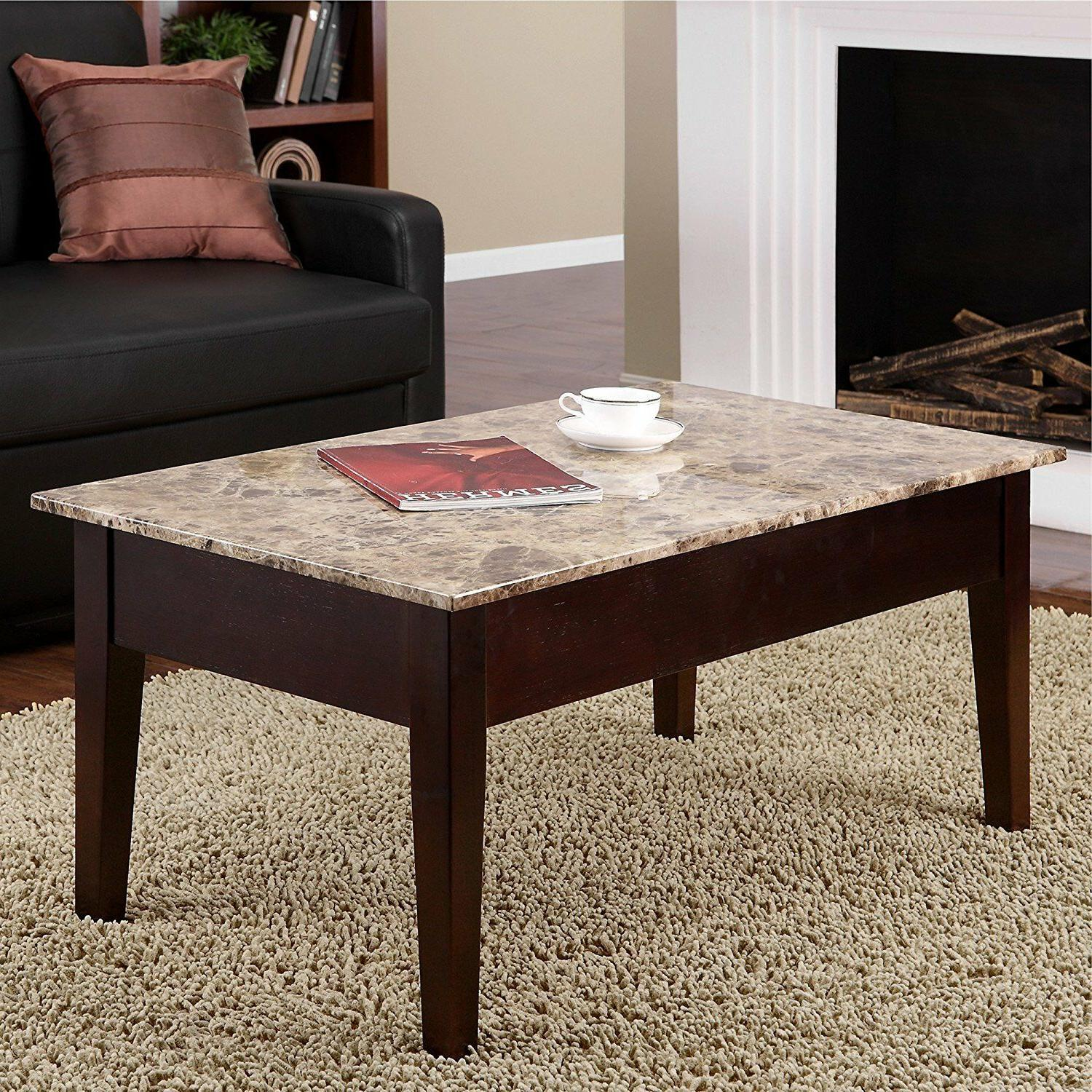 coffee table lift top faux marble cover
