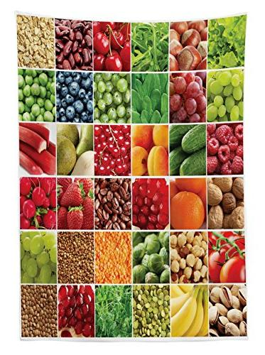 Fresh Fruits Squares Healthy Eating Agriculture Collage, Dining Room Kitchen Rectangular Table Cover, 60W 84L Multicolor