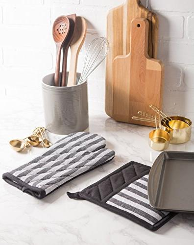 DII Kitchen Mitts Set Farmhouse Chic Machine Washable for