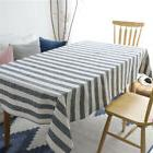 Cotton Linen Gray Striped Tablecloth Dining Table Cover For