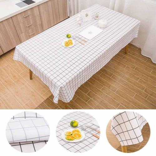 Cotton Grid Tablecloth Dining Cover For Kitchen Decor