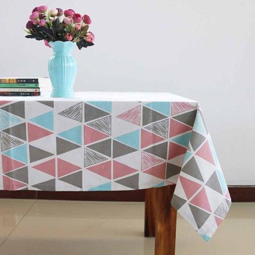 Cotton Linen Grid Tablecloth Table For Kitchen Home