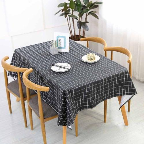 Cotton Linen Grid Pattern Tablecloth Table Cover For Home