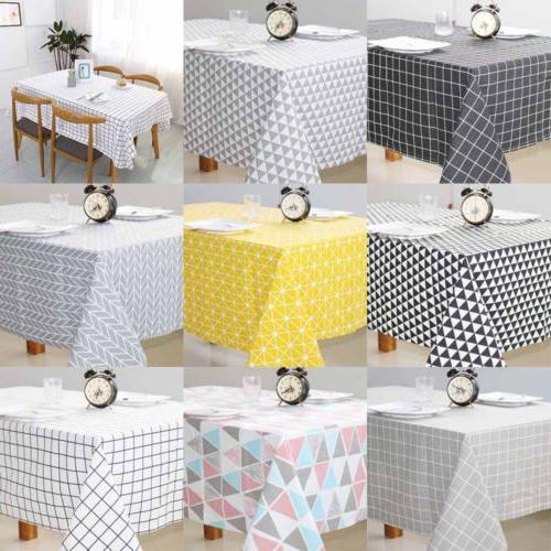 Cotton Linen Grid Tablecloth Dining Table Cover For Kitchen Home Decor