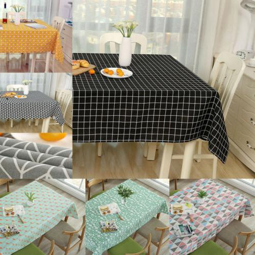 cotton linen tablecloth check grid customed deco