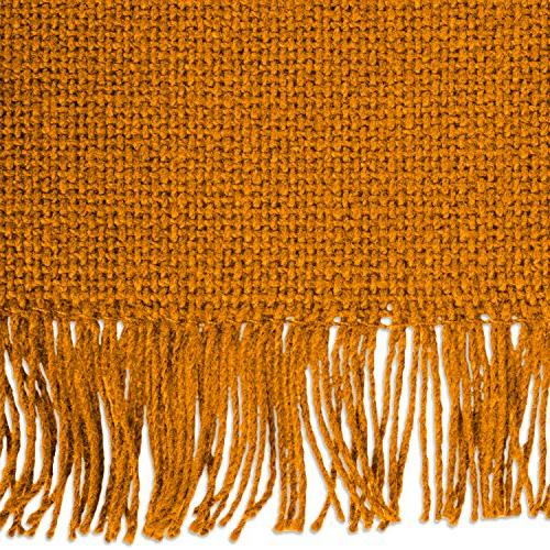 DII Table Runner Fringe for Family Dinners, Everyday Use Pumpkin Spice Solid