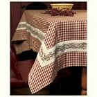 """Country Primitive 90"""" BERRY VINE BURGUNDY GINGHAM TABLECLOTH"""