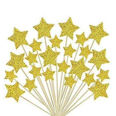 cupcake toppers gold star cake