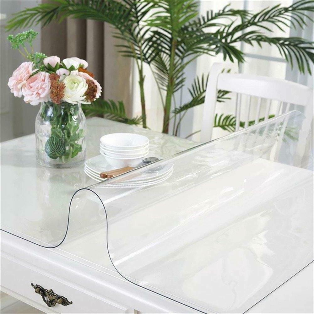 OstepDecor Custom 1.5mm 2pcs Inch Crystal Clear Plastic Table Cover