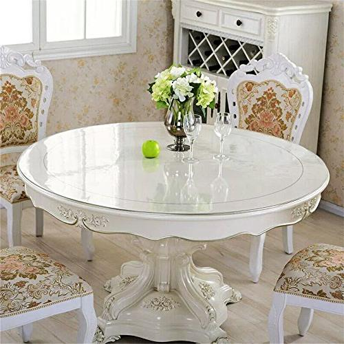 OstepDecor Thick Crystal Protector Tablecloth Kitchen Dining Wood Protective Cover Round Inches