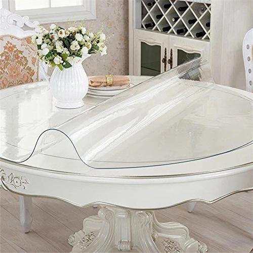 OstepDecor Custom Crystal Clear Table Protector Tablecloth Dining Protective Cover Round